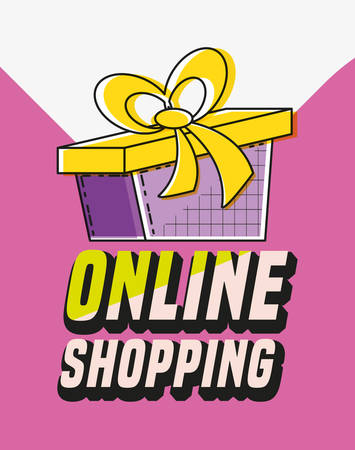 online shopping with gift pop art style vector illustration design 일러스트