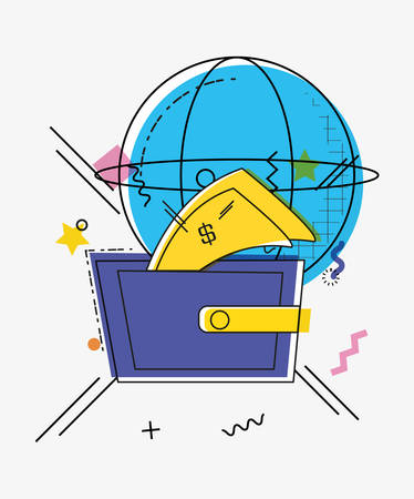 online shopping with sphere planet pop art style vector illustration design