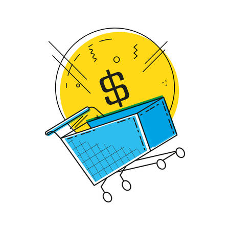 online shopping with cart pop art style vector illustration design