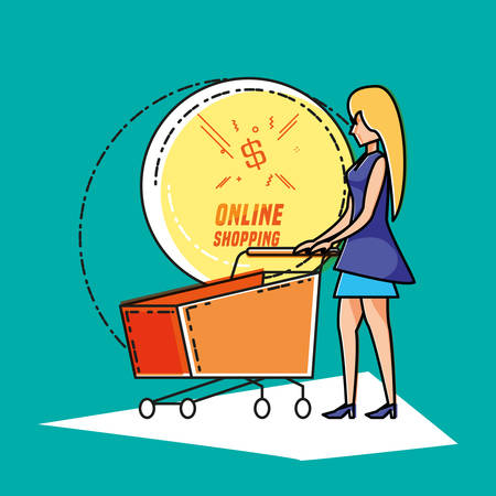 woman avatar with online shopping icon pop art style vector illustration design 向量圖像