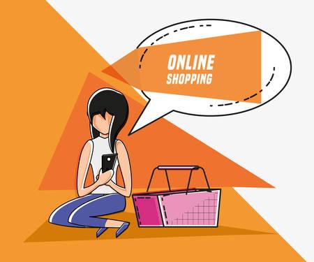 woman avatar with online shopping icon pop art style vector illustration design 일러스트