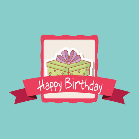 happy birthday frame with gift box vector illustration design