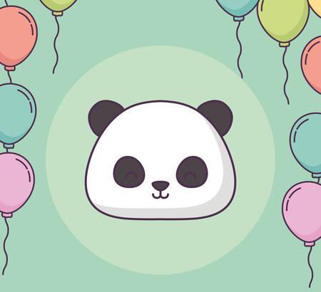 cute panda bear clebrating party character vector illustration design