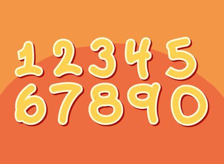 set numbers comic style vector illustration design Illustration