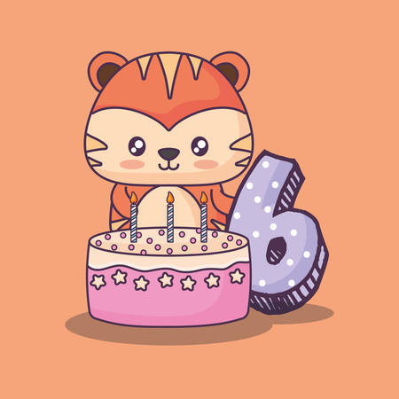 cute tiger clebrating party character vector illustration design