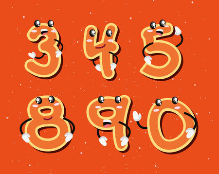 set numbers comic characters vector illustration design Illustration