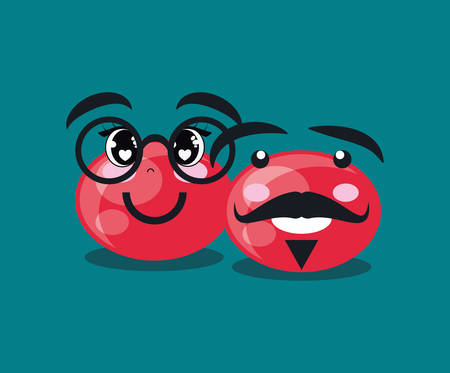 Red nose day design with cartoon red noses with mustache and glasses  over bue background, vector illustraiton
