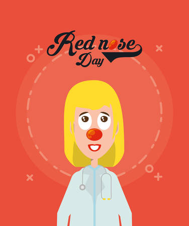 Red nose day design with cartoon woman doctor with clown costume over red background, colorful design. vector illustration 일러스트