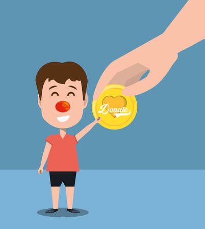 cartoon boy with donate coin over blue background, colorful design. vector illustration