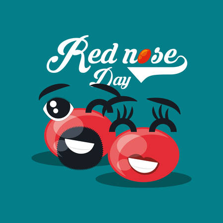 Red nose day design with cartoon red noses with beard and eyebrows over blue background, vector illustraiton Illustration