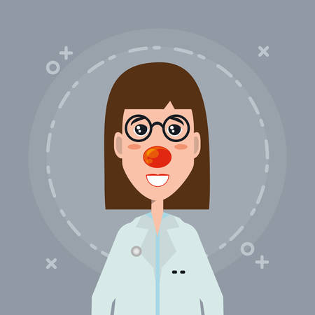 cartoon woman doctor with red nose over gray background, colorful design. vector illustration Stock Illustratie