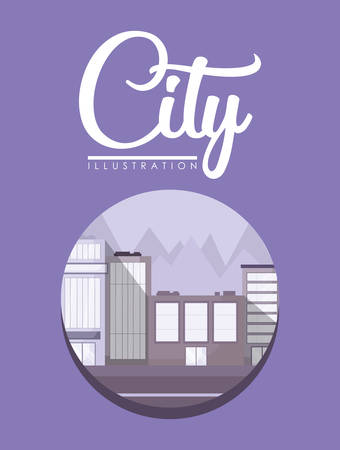 city design with city buildings in a circular frame over purple background, colorful design. vector illustration Çizim