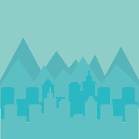 landscape of city urban design with mountains, colorful design. vector illustration