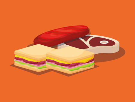 sándwiches y filetes de carne sobre fondo naranja, colorido diseño. ilustración vectorial