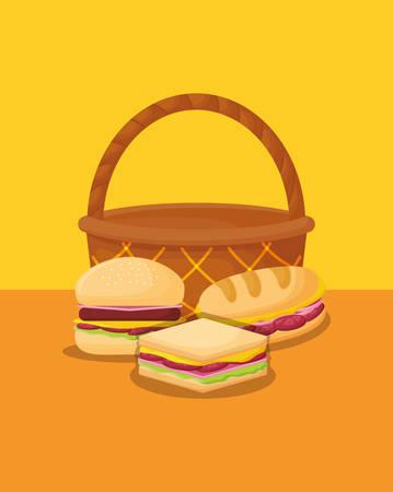 Diseño de comida de picnic con canasta con sándwiches sobre fondo amarillo, diseño colorido. ilustración vectorial