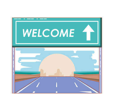 road with welcome label vector illustration design