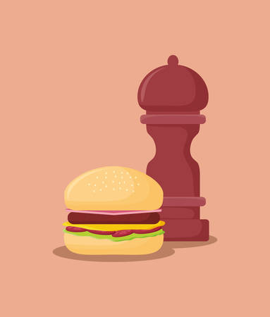 hamburger and pepper mill over orange background, colorful design. vector illustration