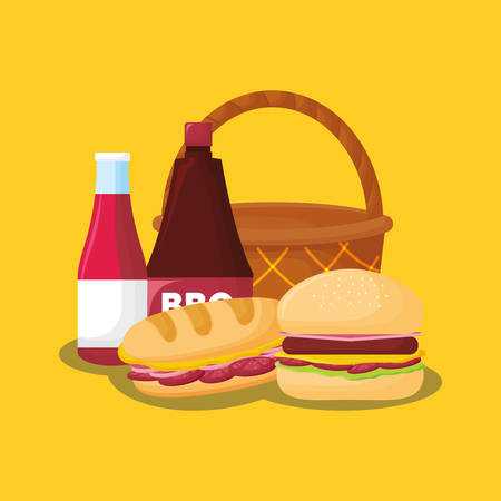 basket with hamburger and sandwich over yellow background, colorful design. vector illustration Illustration