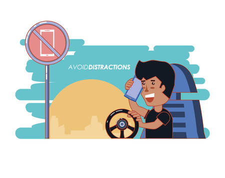 person driving with a void distractions label vector illustration design