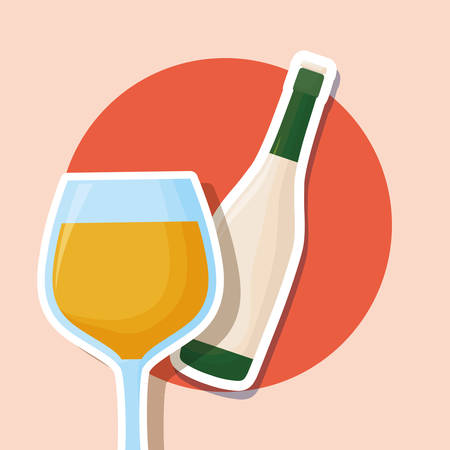 wine bottle and glass over orange background, colorful design. vector illustration