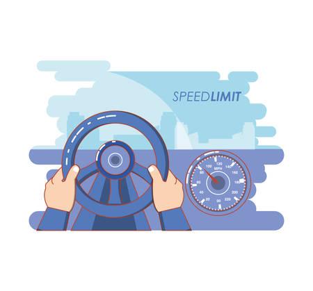 speed limit vehicle driving vector illustration design