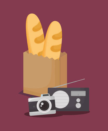 camera and radio with bag with breads over purple background, colorful design. vector illustration