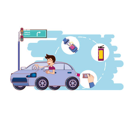 person driving for driver safely campaign vector illustration design Vectores