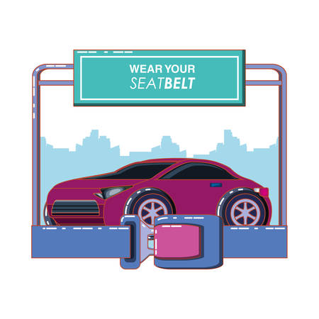 wear your seat belt vector illustration design