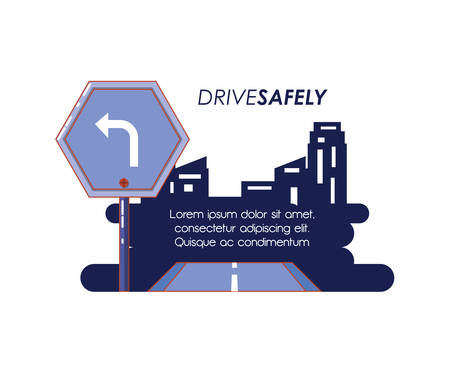 driver safely campaign label vector illustration design