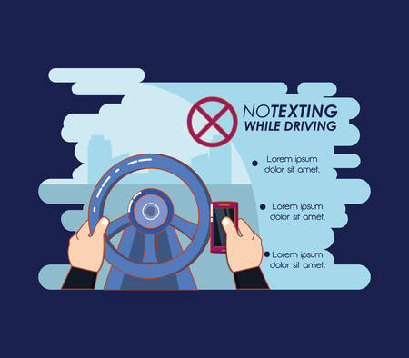 no texting while driving campaign vector illustration design Illustration