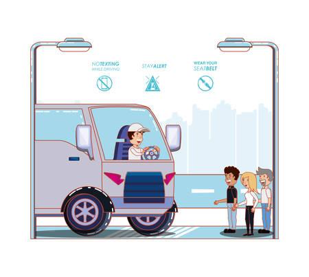 driver safely campaign label vector illustration design