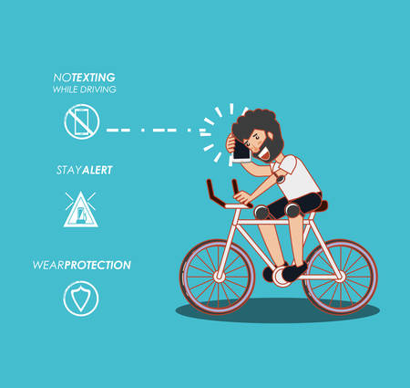 people in bicycle drive safely campaign vector illustration design Vector Illustration