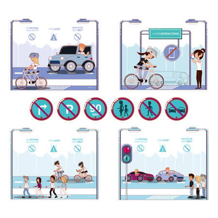 people in bicycle drive safely campaign vector illustration design