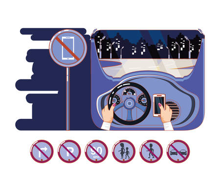 Manos conduciendo coche con conductor de forma segura iconos diseño ilustración vectorial Ilustración de vector