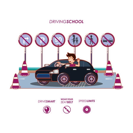 man driving car with driver safely icons vector illustration design