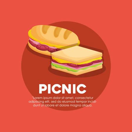 Infografía del concepto de comida de picnic con icono de sandwichs sobre fondo rojo, diseño colorido. ilustración vectorial