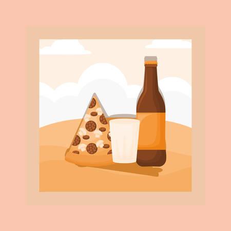 Picnic food design with beer bottle and pizza over orange background, colorful design. vector illustration