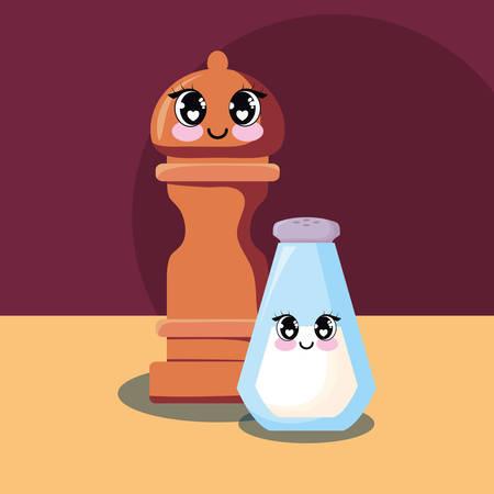 pepper mill and salt bottle over brown background, colorful design. vector illustration
