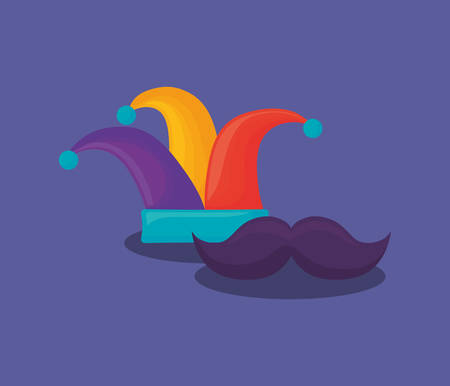 Carnival design with jester hat and mustache over purple background, colorful design. vector illustration