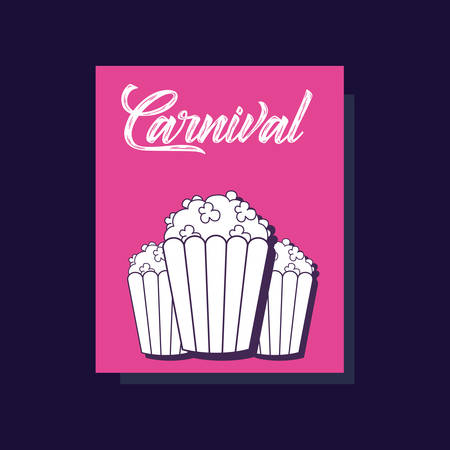 Carnival design with pop corns icon over pink and black background, colorful design. vector illustration