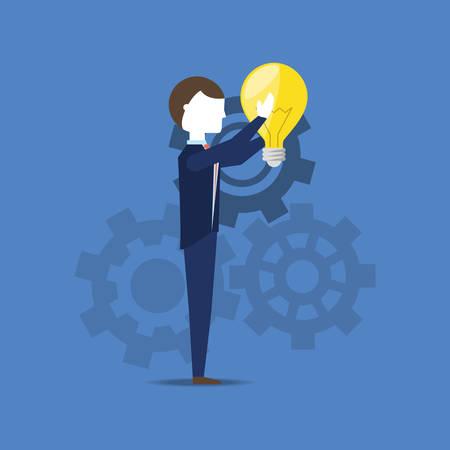 businessman holding a  bulb over blue background, colorful design. vector illustration Ilustrace