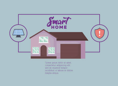 Infographic presentation of Smart home concept with solar panel and shield  icon over gray background, vector illustration