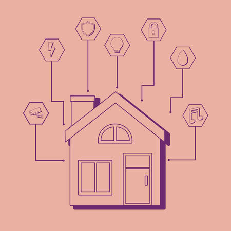 Modern house with smart home related icons over red background, colorful design. vector illustration Çizim