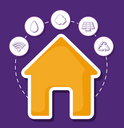 紫色の背景、カラフルなデザインの上にスマートハウス関連のアイコンを持つ家。ベクトルの図