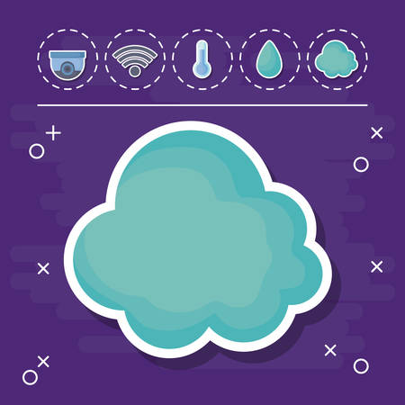 cloud with smart house related icons over purple background, colorful design. vector illustration