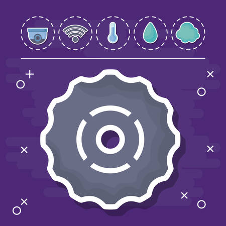 gear wheel with smart house related icons over purple background, colorful design. vector illustration