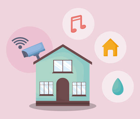 Modern house with smart home related icons over pink background, colorful design. vector illustration