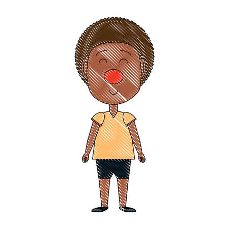cartoon boy with clown nose icon over white background, vector illustration Illustration