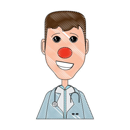 cartoon doctor with red nose and stethoscope over white background, colorful design. vector illustration