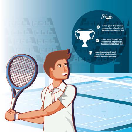 man playing tennis character vector illustration design